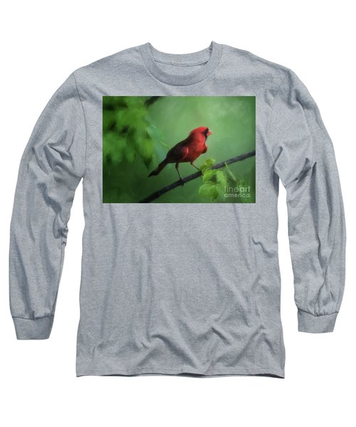 Long Sleeve T-Shirt featuring the digital art Red Bird On A Hot Day by Lois Bryan