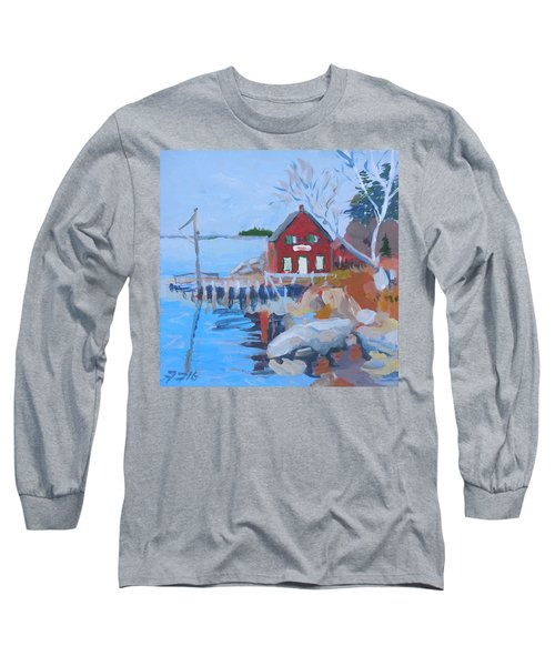 Long Sleeve T-Shirt featuring the painting Red Boat House by Francine Frank