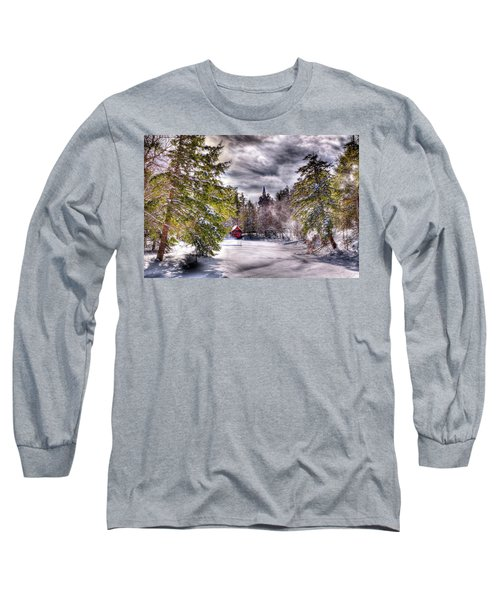 Long Sleeve T-Shirt featuring the photograph Red Boathouse After The Storm by David Patterson