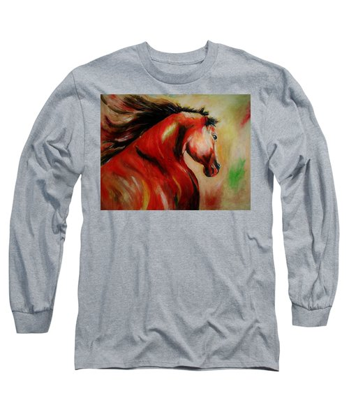 Red Breed Long Sleeve T-Shirt by Khalid Saeed