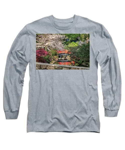 Red Bridge Spring Reflection Long Sleeve T-Shirt by James Eddy
