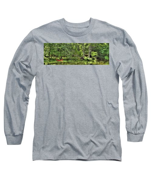 Long Sleeve T-Shirt featuring the photograph Red Canoe Panorama by David Patterson
