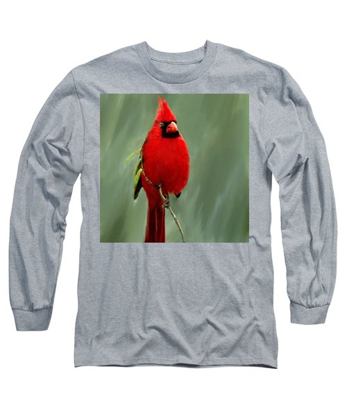 Red Cardinal Painting Long Sleeve T-Shirt by Bob and Nadine Johnston