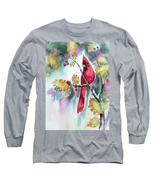 Red Cardinal With Berries Long Sleeve T-Shirt