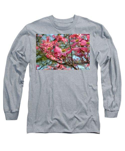 Red Dogwood Flowers Long Sleeve T-Shirt by Eva Kaufman