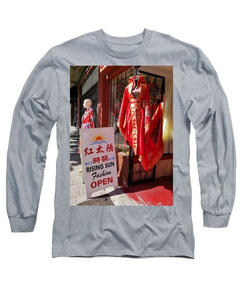 Red Dress In Chinatown, Vancouver, Canada Long Sleeve T-Shirt