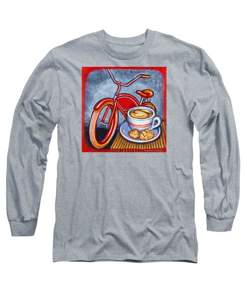 Red Electra Delivery Bicycle Cappuccino And Amaretti Long Sleeve T-Shirt by Mark Jones
