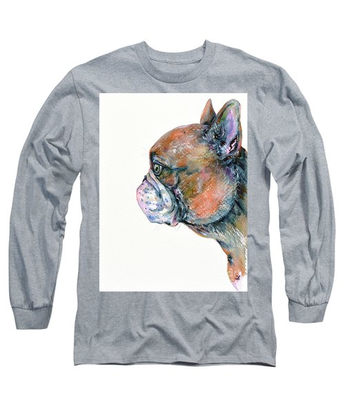 Long Sleeve T-Shirt featuring the painting Red Fawn Frenchie by Zaira Dzhaubaeva