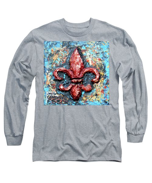 Long Sleeve T-Shirt featuring the painting Red Fleur De Lis by Genevieve Esson