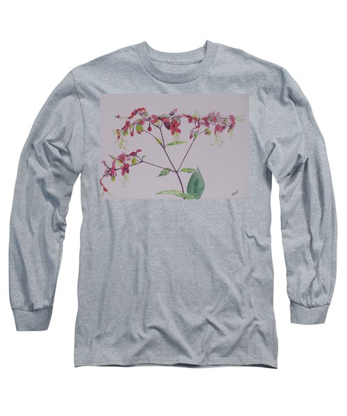 Long Sleeve T-Shirt featuring the painting Red Flower Vine by Hilda and Jose Garrancho
