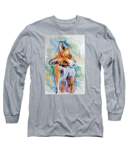 Red Fox Watching Long Sleeve T-Shirt by Kovacs Anna Brigitta