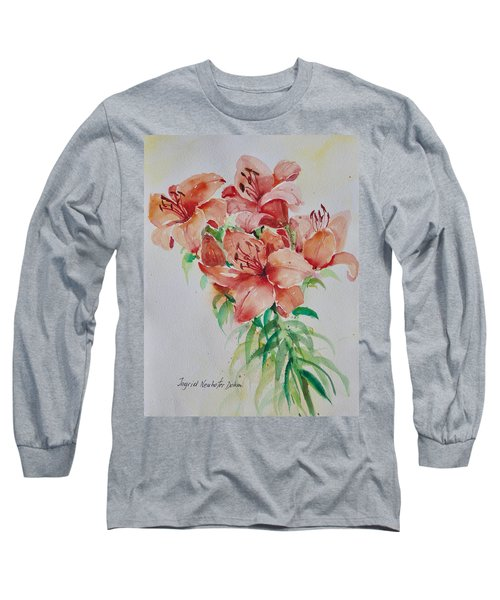 Red Lilies Long Sleeve T-Shirt by Alexandra Maria Ethlyn Cheshire