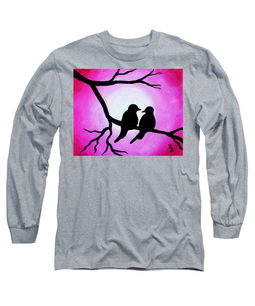 Red Love Birds Silhouette Long Sleeve T-Shirt