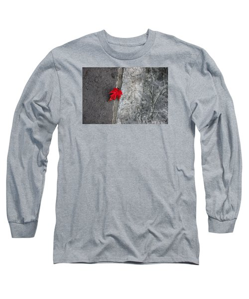Red On Gray Long Sleeve T-Shirt