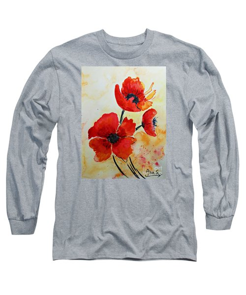 Red Poppies Watercolor Long Sleeve T-Shirt by AmaS Art