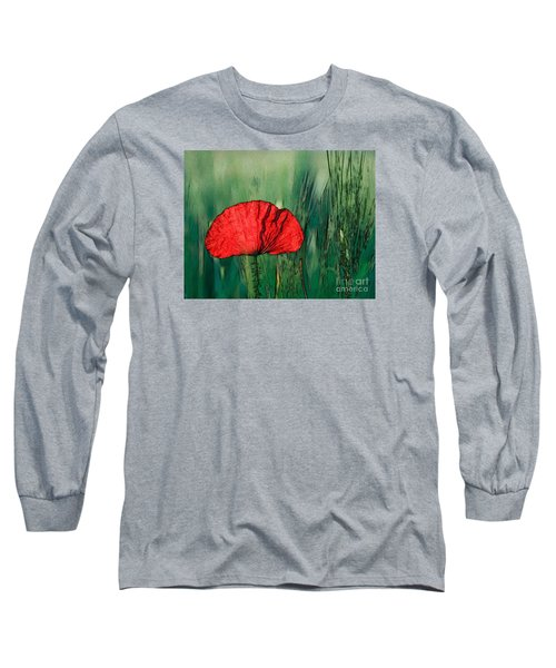 Long Sleeve T-Shirt featuring the photograph Red Poppy Flower by Jean Bernard Roussilhe
