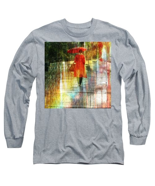 Red Rain Day Long Sleeve T-Shirt by LemonArt Photography