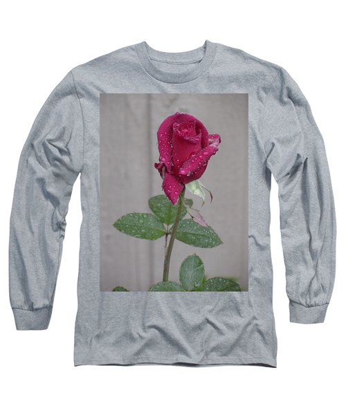 Red Rose In Rain Long Sleeve T-Shirt