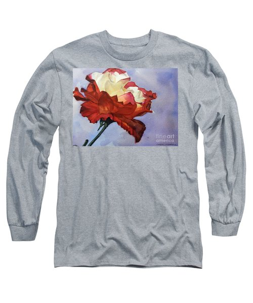 Watercolor Of A Red And White Rose On Blue Field Long Sleeve T-Shirt