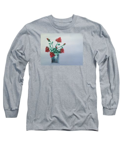 Red Roses In Silver Pot Long Sleeve T-Shirt