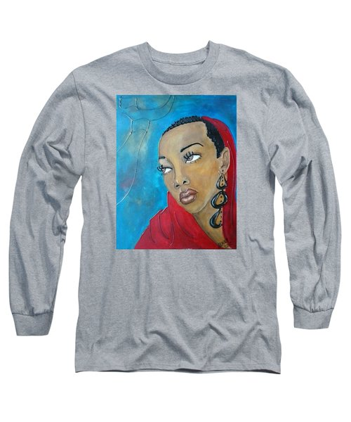 Red Scarf Long Sleeve T-Shirt by Jenny Pickens