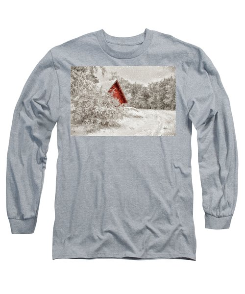 Red Shed In The Snow Long Sleeve T-Shirt