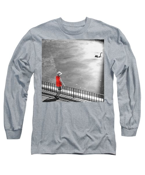 Red Shirt, Black Swanla Seu, Palma De Long Sleeve T-Shirt by John Edwards