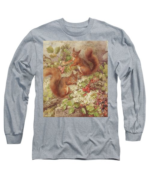 Red Squirrels Gathering Fruits And Nuts Long Sleeve T-Shirt
