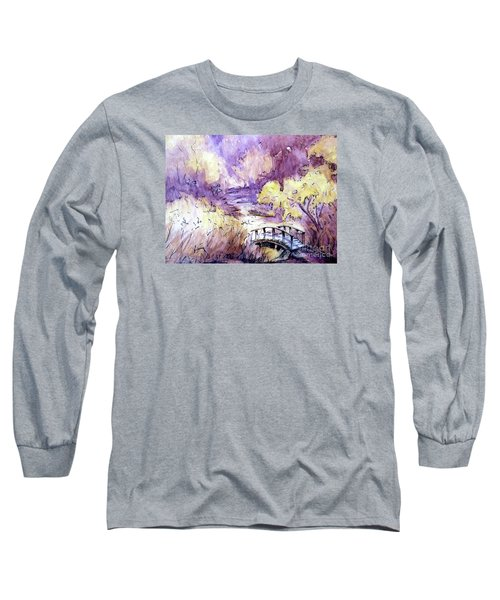 Long Sleeve T-Shirt featuring the painting Red Top Mountain Bridge by Gretchen Allen