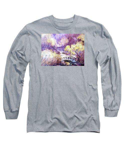 Red Top Mountain Bridge Long Sleeve T-Shirt by Gretchen Allen