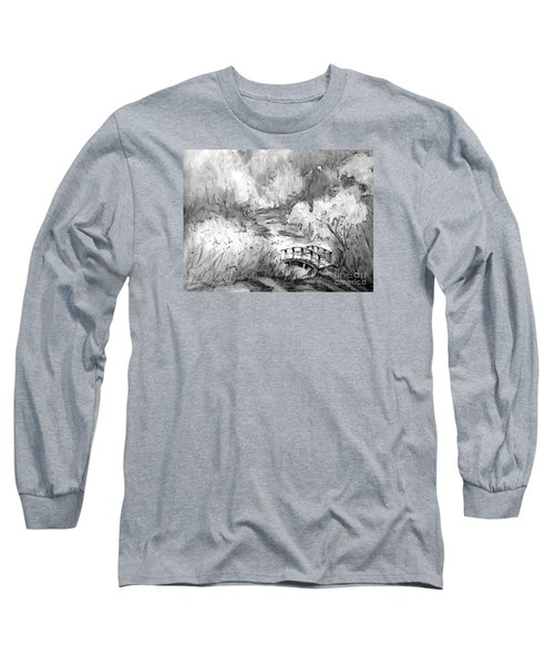 Red Top Mountain Bridge In Black And White Long Sleeve T-Shirt