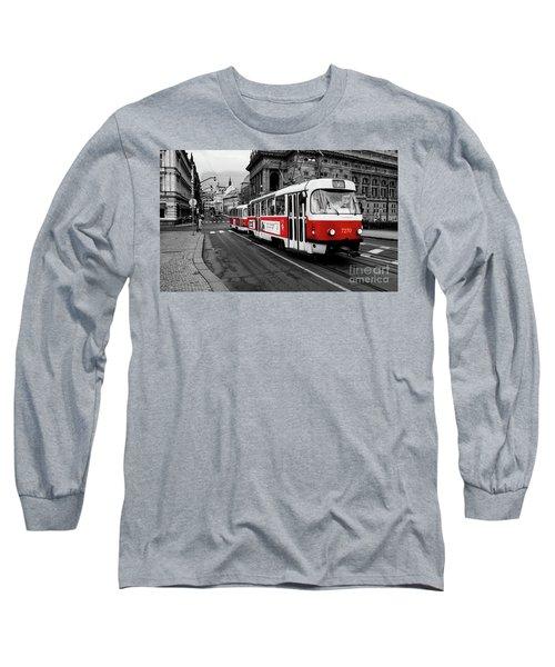 Prague - Red Tram Long Sleeve T-Shirt