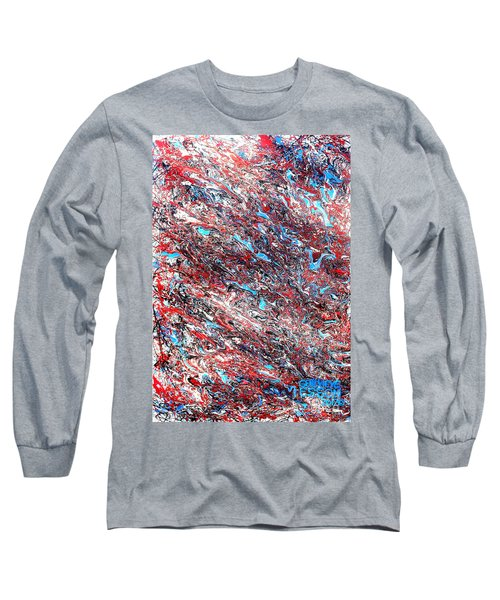 Long Sleeve T-Shirt featuring the painting Red White Blue And Black Drip Abstract by Genevieve Esson