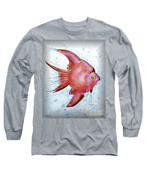 Long Sleeve T-Shirt featuring the mixed media Redfish by Walt Foegelle