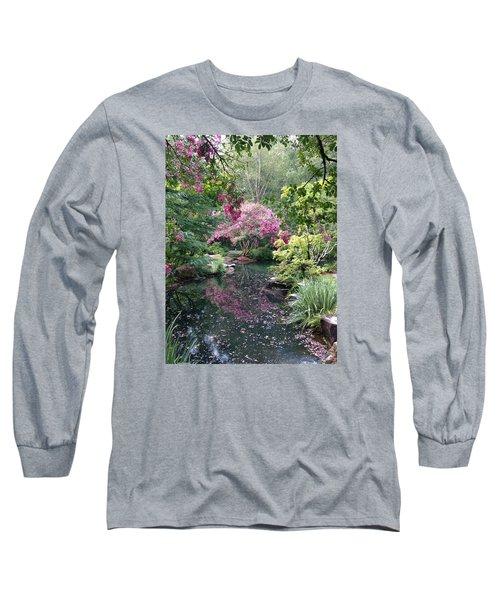 Reflecting Crape-myrtles Long Sleeve T-Shirt by Linda Geiger