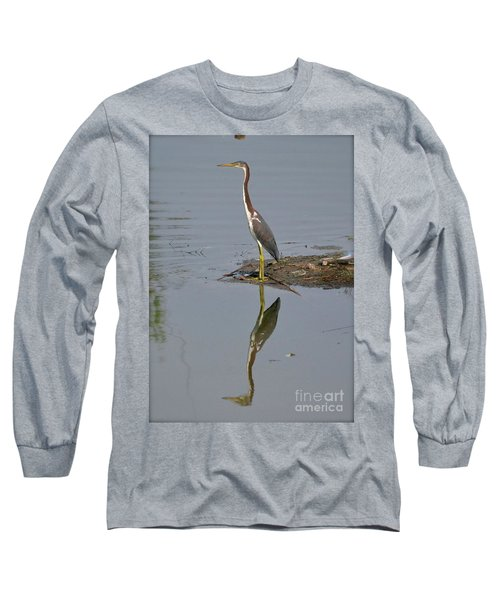 Long Sleeve T-Shirt featuring the photograph Reflecting Heron by Carol  Bradley
