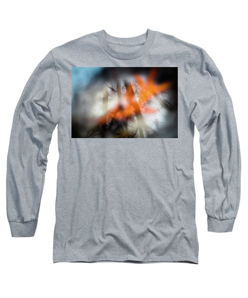Reflection Of Trees Over An Oak Leaf Encased In Water And Ice Long Sleeve T-Shirt