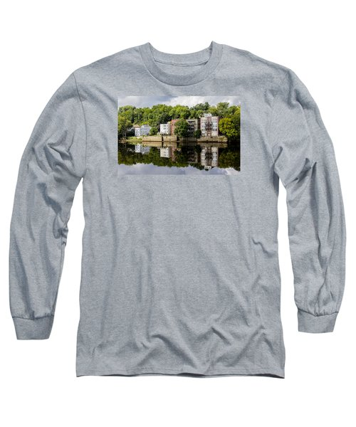 Long Sleeve T-Shirt featuring the photograph Reflections Of Haverhill On The Merrimack River by Betty Denise