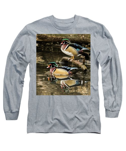 Reflections Of You And Me Wildlife Art By Kaylyn Franks Long Sleeve T-Shirt