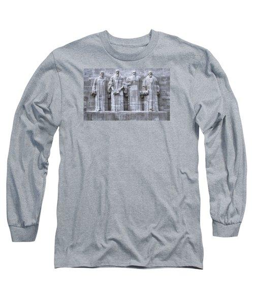 Reformers Wall, Geneva, Switzerland, Hdr Long Sleeve T-Shirt by Elenarts - Elena Duvernay photo