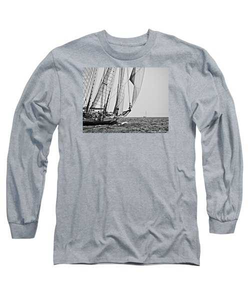 Regatta Heroes In A Calm Mediterranean Sea In Black And White Long Sleeve T-Shirt