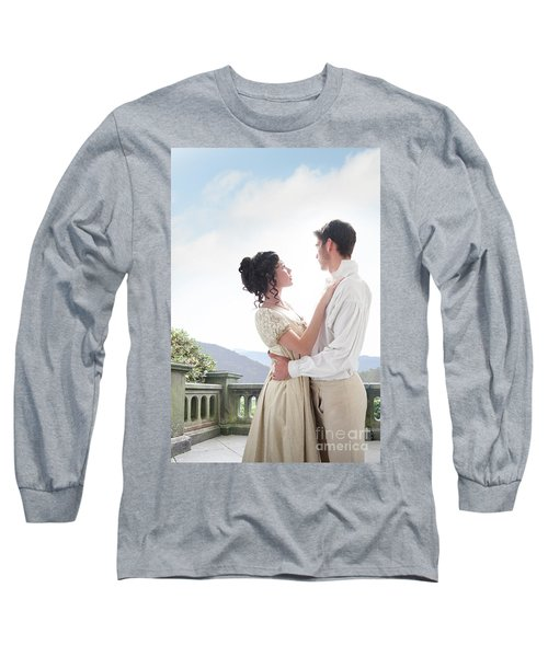Regency Couple Embracing On The Terrace Long Sleeve T-Shirt by Lee Avison