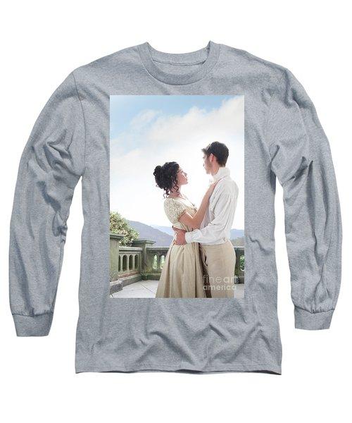 Regency Couple Embracing On The Terrace Long Sleeve T-Shirt