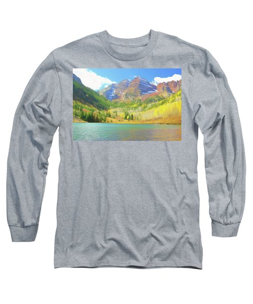 Long Sleeve T-Shirt featuring the photograph The Maroon Bells Reimagined 1 by Eric Glaser