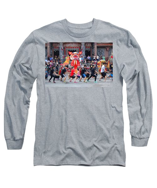 Long Sleeve T-Shirt featuring the photograph Religious Martial Arts Performance In Taiwan by Yali Shi
