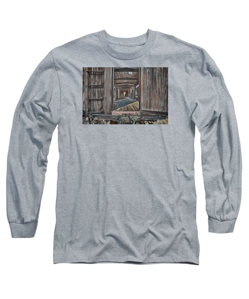 Long Sleeve T-Shirt featuring the photograph Retired Train Car Jamestown by Steve Siri