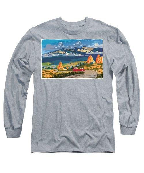 Retro Travel Autumn Landscape Long Sleeve T-Shirt