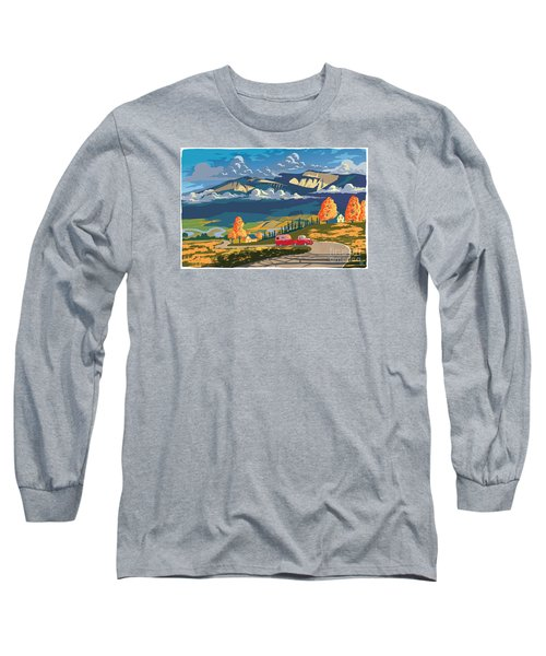 Retro Travel Autumn Landscape Long Sleeve T-Shirt