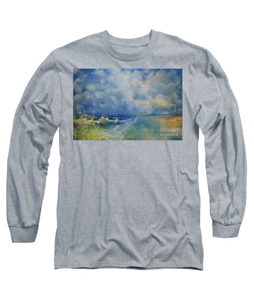 Long Sleeve T-Shirt featuring the painting Retrospection Seascape by Maja Sokolowska