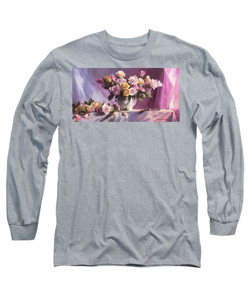 Long Sleeve T-Shirt featuring the painting Rhapsody Of Roses by Steve Henderson